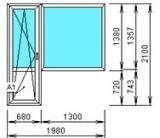 Балконный блок 2000*2100 дверь ПО, окно глухое, из профиля КВЕ 58мм, RotoNT